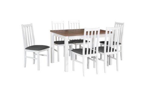 MAX 5 biały, blat dąb lefkas, krzesła BOS 10 (tkanina 8) (low res)